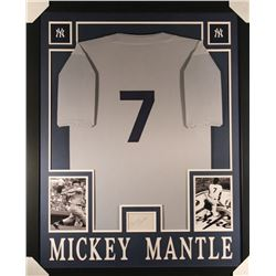 Mickey Mantle Signed Yankees 35x43 Custom Framed Display with Jersey  Signed Index Card (JSA LOA)