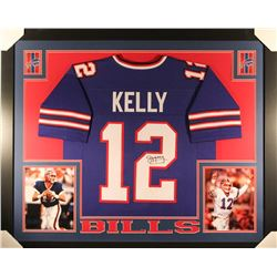 Jim Kelly Signed Bills 35x43 Custom Framed Jersey (JSA COA)