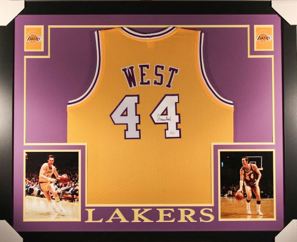 8365685d9 Image 1   Jerry West Signed Lakers 35x43 Custom Framed Jersey (JSA COA)