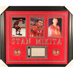 Stan Mikita Signed Blackhawks 23x27 Custom Framed Cut Display (PSA Encapsulated)