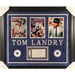 Tom Landry Signed Cowboys 23x27 Custom Framed Cut Display (PSA Encapsulated)