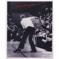 "Bobby Knight Signed Indiana Hoosiers ""Throwing Chair"" 16x20 Photo (Schwartz COA)"