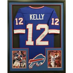 "Jim Kelly Signed Bills 34x42 Custom Framed Jersey Inscribed ""HOF 02"" (Radtke COA)"