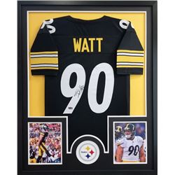 T.J. Watt Signed Steelers 34x42 Custom Framed Jersey (Radtke COA)
