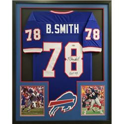 "Bruce Smith Signed Bills 34x42 Custom Framed Jersey Inscribed ""HOF 09"" (Radtke COA)"