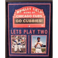"Ernie Banks Signed Cubs Wrigley Field Marquee 26x32x2 Custom Framed Shadowbox Display Inscribed ""HOF"