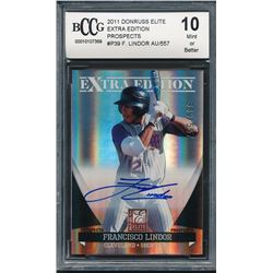2011 Donruss Elite Extra Edition Prospects #P39 Francisco Lindor Autograph #389/557 (BCCG 10)