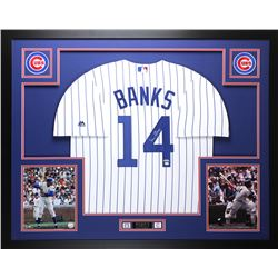 "Ernie Banks Signed Cubs 35"" x 43"" Custom Framed Jersey (TriStar Hologram)"