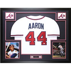"Hank Aaron Signed Braves 35"" x 43"" Custom Framed Jersey (JSA COA)"