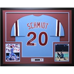 "Mike Schmidt Signed Phillies 35"" x 43"" Custom Framed Jersey Inscribed ""80 NL/WS MVP"" (Fanatics  MLB)"