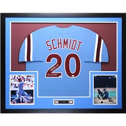 "Mike Schmidt Signed Phillies 35"" x 43"" Custom Framed Jersey Inscribed ""80 WS Champs"" (Fanatics  MLB)"