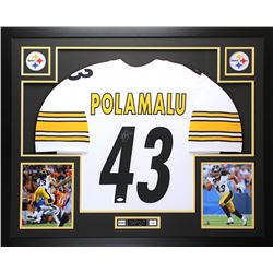 "Troy Polamalu Signed Steelers 35"" x 43"" Custom Framed Jersey (JSA COA)"
