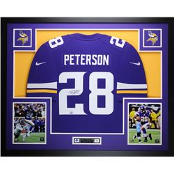 "Adrian Peterson Signed Vikings 35"" x 43"" Custom Framed Jersey (Fanatics)"