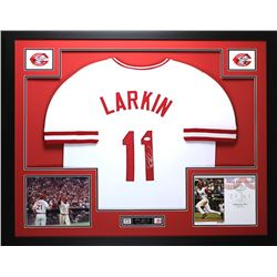 "Barry Larkin Signed Reds 35"" x 43"" Custom Framed Jersey (JSA COA)"