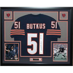"Dick Butkus Signed Bears 35x43 Custom Framed Jersey Inscribed ""HOF 79"" (JSA COA)"