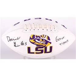 "Derrius Guice Signed LSU Tigers Logo Football Inscribed ""Geaux Tigers!"" (JSA COA)"