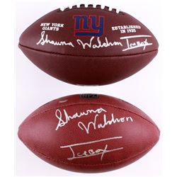 Lot of (2) Shawna Waldron Signed Full-Size Footballs with (1) NFL Football  (1) Giants Logo Football