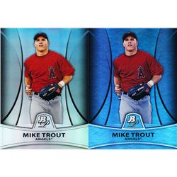 Lot of (2) 2010 Bowman Platinum Prospects Refractors #PP5 Mike Trout with Thick Stock  Thin Stock Va