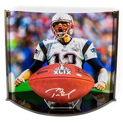 """Tom Brady Signed """"The Duke"""" Super Bowl XLIX NFL Official Game Ball with Custom Curve Display Case (T"""