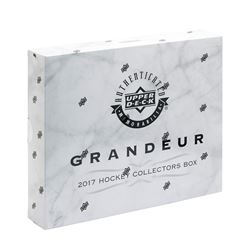 Lot of (4) Single Blind Sealed Packs of 2017 Upper Deck Grandeur Hockey Coins with Box