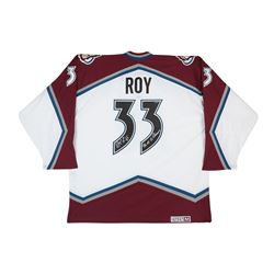 """Patrick Roy Signed Avalanche Jersey Inscribed """"96-01 SC Champs"""" (UDA)"""