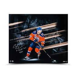 """Connor McDavid Signed Oilers 20x24 Photo Inscribed """"1st Playoff Goal 4/4/17"""" (UDA)"""