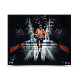 """Connor McDavid Signed Oilers """"Tunnel Vision"""" 16x20 Photo Inscribed """"2016-17 Hart Trophy"""" (UDA)"""