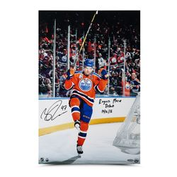 """Connor McDavid Signed Oilers """"Home Opener Celebration"""" 16x24 Photo Inscribed """"Rogers Place Debut 10/"""
