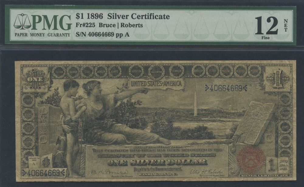 1896 1 One Dollar Us Silver Certificate Large Size Currency Bank