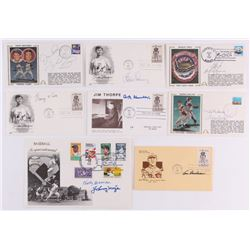 Lot of (8) Hall of Famers Cachet Envelopes Signed by Gaylord Perry, George Kell, Steve Carlton, John