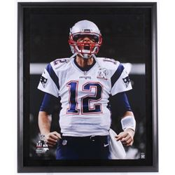 "Tom Brady Signed Patriots ""Scream"" 40x48 Custom Framed Limited Edition Photo (Steiner COA  TriStar)"
