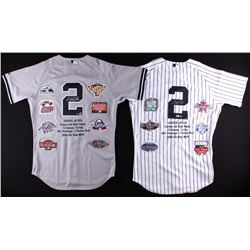 Derek Jeter Signed lot of (2) LE Yankees Career Highlight Stat Home  Road Jerseys (Steiner COA  MLB