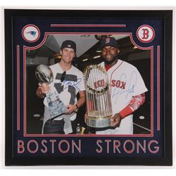Tom Brady  David Ortiz Signed 24x26 Custom Framed Photo Display (SGC COA  Tristar)
