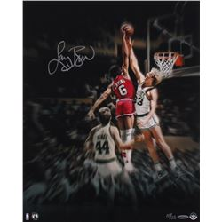 "Larry Bird Signed LE ""Blocking the Doctor"" 16x20 Photo (UDA COA)"