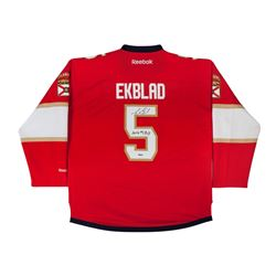 "Aaron Ekblad Signed Panthers Jersey Inscribed ""2014 #1 Pick"" (UDA)"