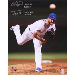 """Miguel Montero  David Ross Signed Cubs Jake Arrieta Action 16x20 Photo Inscribed """"Caught NH 8/30/15"""""""