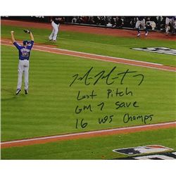 "Mike Montgomery Signed Cubs LE 16x20 Photo Inscribed ""Last Pitch"", ""GM 7 Save""  16 WS Champs (Schwar"