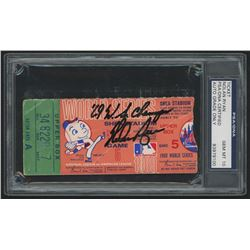 "Nolan Ryan Signed 1969 World Series Ticket Stub Inscribed ""'69 WS Champs"" (PSA 10)"