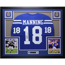 "Peyton Manning Signed Colts 35"" x 43"" Custom Framed Jersey (Steiner COA)"