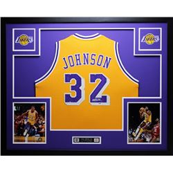 "Magic Johnson Signed Lakers 35"" x 43"" Custom Framed Jersey (PSA COA)"
