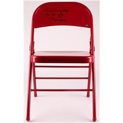 "Bob Knight Signed Red Metal Folding Chair Inscribed ""76, 81, 87 Champs"" (Schwartz COA)"