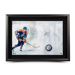 "Paul Coffey Signed Oilers ""Slap Shot Breaking Through"" 16"" x 24"" Custom Framed Hockey Puck Display ("