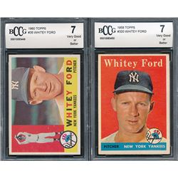 Lot of (2) Whitey Ford Baseball Cards with 1960 Topps #35 (BCCG 7)  1958 Topps #320 (BCCG 7)