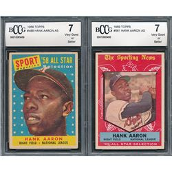 Lot of (2) Hank Aaron Baseball Cards with 1958 Topps #488 AS (BCCG 7)  1959 Topps #561 AS (BCCG 7)