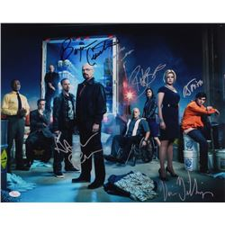 """Breaking Bad"" 16x20 Photo Signed By (6) With Bryan Cranston, Aaron Paul, RJ Mitte, Betsy Brandt (JS"