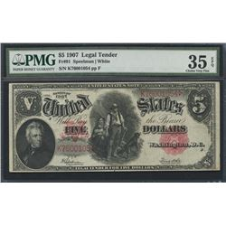 1907 $5 Five Dollars Legal Tender Large Size Bank Note Bill (PMG 35) (EPQ)