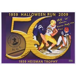 Billy Cannon  Artist Signed 14x20 LSU Tigers1959 Halloween Run LE Lithograph with (2) Inscriptions #