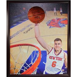 Kristaps Porzingis Signed Knicks 32x40 Custom Framed Canvas With Basketball Piece Pop-Out Display (S