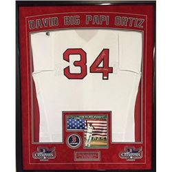 "David Ortiz Signed Red Sox 36x42 Custom Framed Authentic Home Jersey Display Inscribed ""Boston Stron"