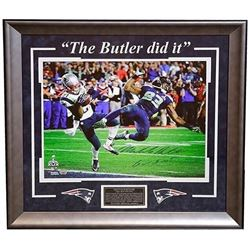 "Malcolm Butler Signed Patriots Super Bowl XLIX ""The Butler Did It"" 22x26 Custom Framed Photo Display"